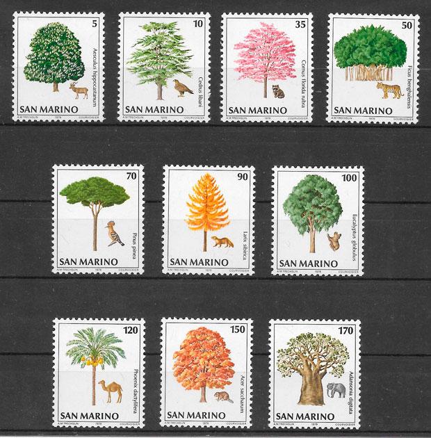 filatelia colección flora San Marino 1979