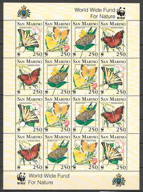 colección sellos fauna wwf San Marino 1993