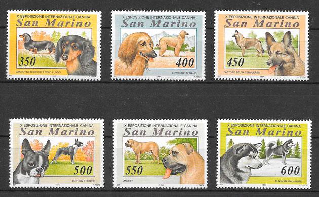 colección sellos gatos y perros San Marino 1994