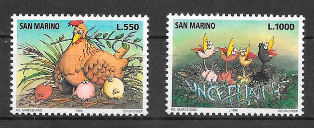 sellos fauna San Marino 1996