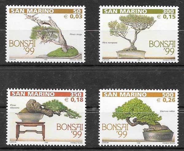 filatelia colección flora San Marina 1999
