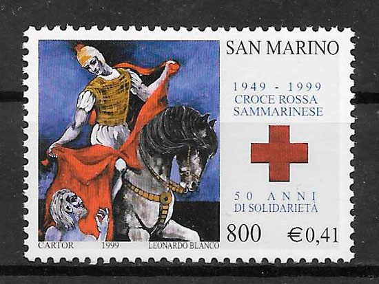 sellos cruz roja San Marino 1999