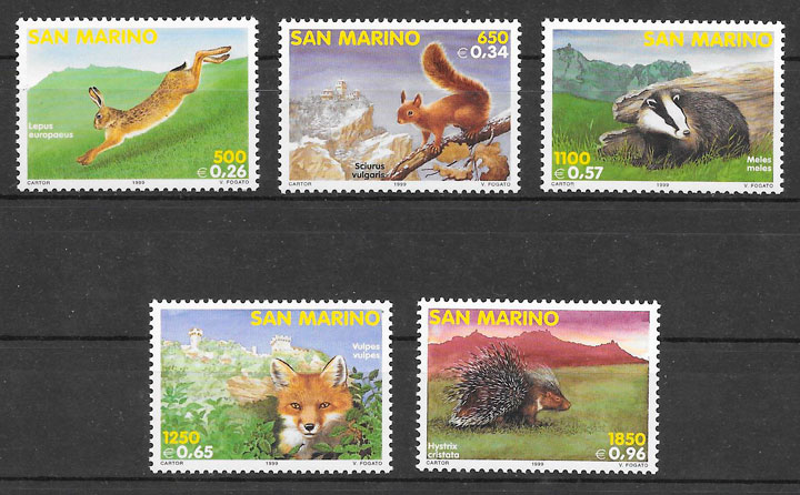 colección sellos fauna San Marino 1999