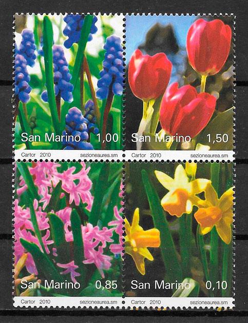 sellos flora San Marino 2010