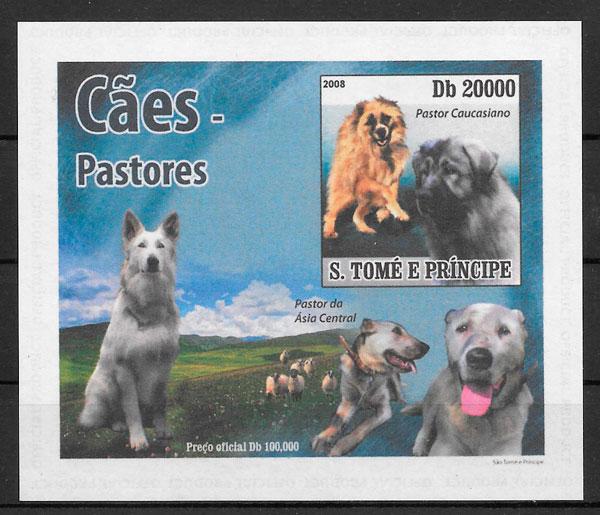 filatelia colección perros Santo Tomé y Princípe 2008
