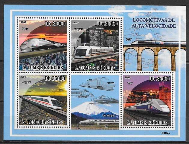 filatelia colección trenes Santo Tome y Príncipe 2009