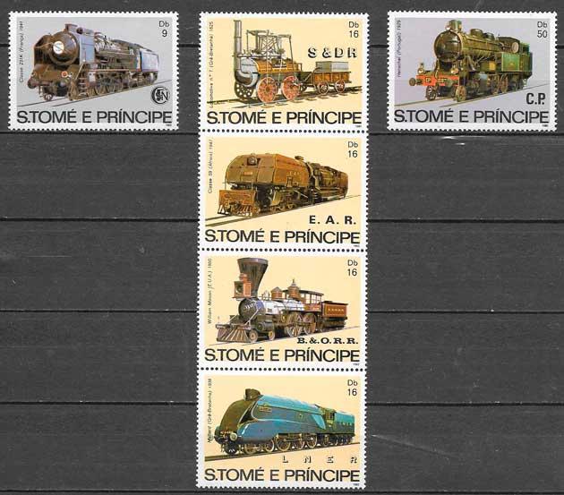 sellos trenes Santo Tomei y Principe