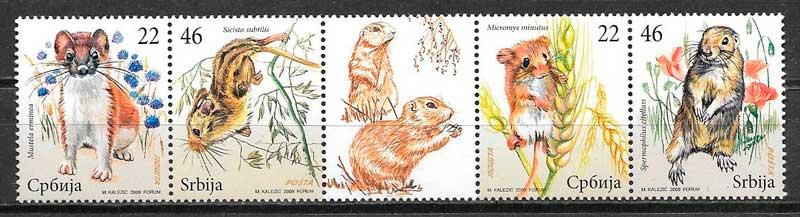 colección sellos fauna Serbia 2009