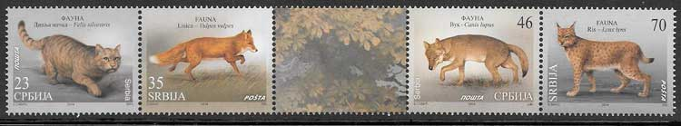 colección sellos fauna Serbia 2014