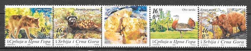 colección sellos fauna Serbia y Montenegro 2006