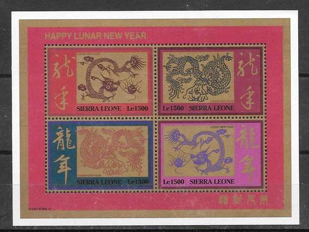 Filatelia año lunar de Sierra Leona