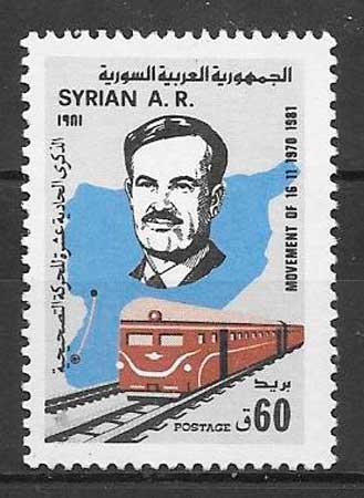 colección sellos trenes Siria 1981