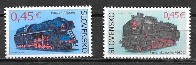 colección sellos trenes Eslovaquia 2015