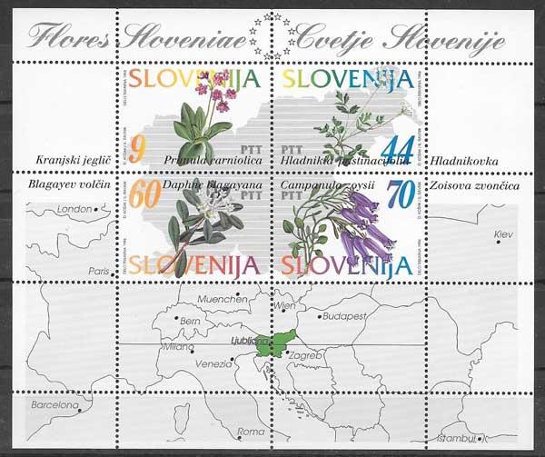 Sellos Filatelia flora de Eslovenia 1994