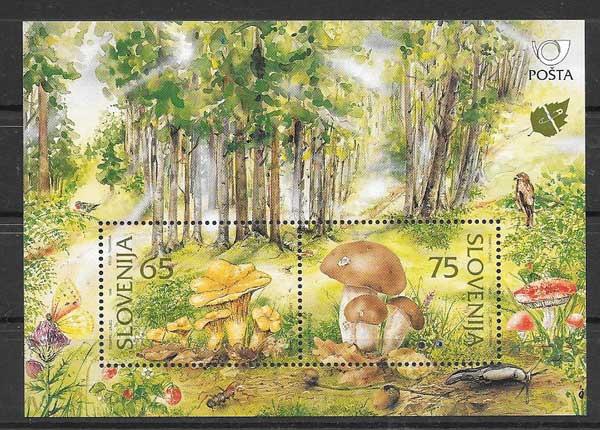 Colección sellos flora setas Eslovenia 1996