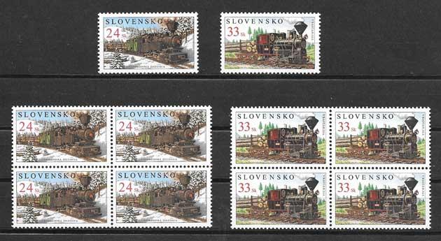 sellos de trenes de Eslovaquia 2005