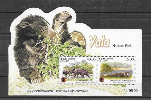 Sellos hojitas blocs fauna parque Yala.