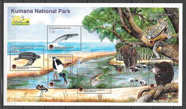 filatelia colección Parques Naturales Sri Lanka 2015