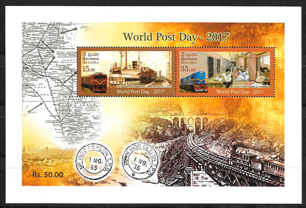 filatelia colección trenes Sri Lanka 2017