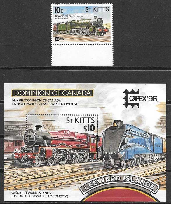 Filatelia trenes St Kitts 1996