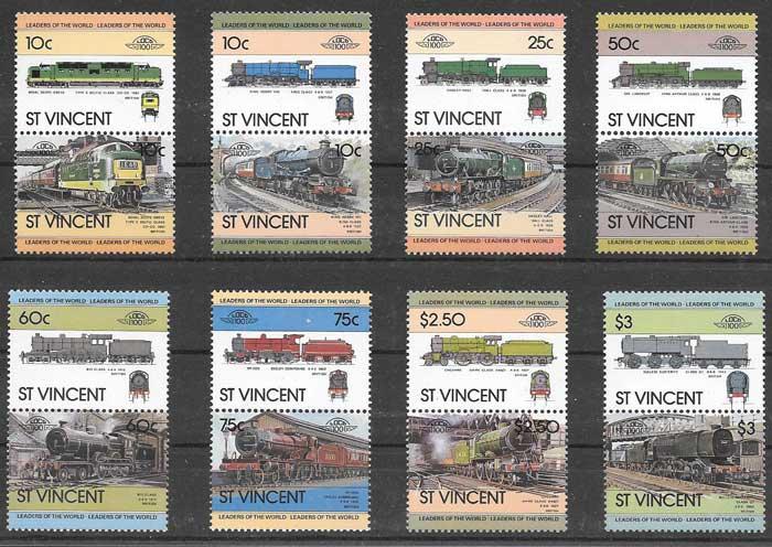 sellos St Vincent 1983 trenes