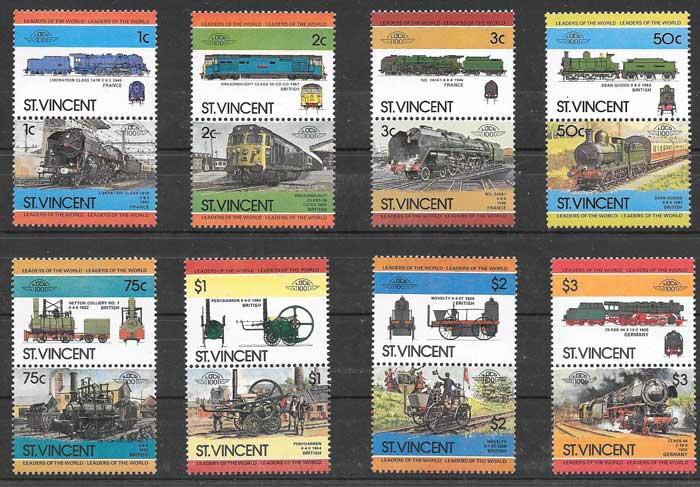 Sellos trenes 1984 St Vincent