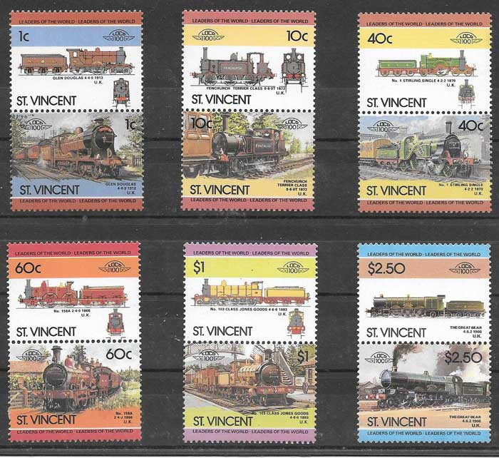 sellos trenes St Vincent 1985