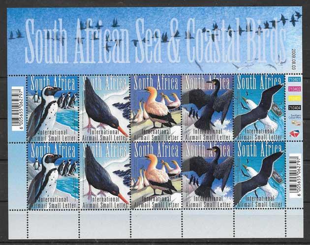 Colección sellos diversas aves Sudáfrica 2009