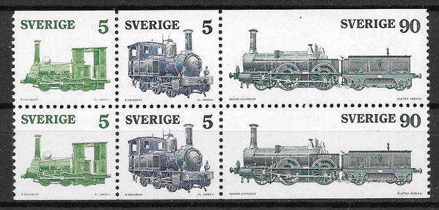 sellos trenes Suecia 1975