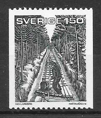 filatelia trenes Suecia 1981