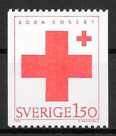 filatelia cruz roja Suecia 1983