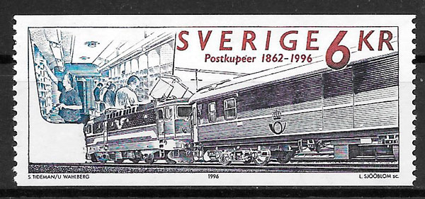 filatelia trenes Suecia 1996