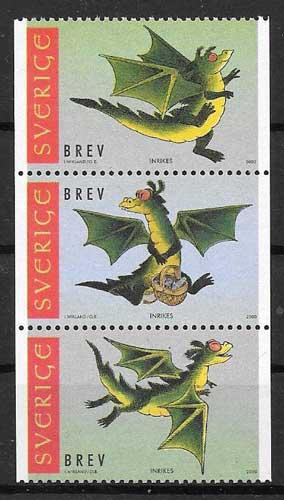 sellos año lunar dragón Suecia 2000