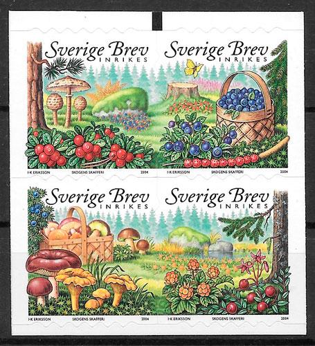 colección selos setas Suecia 2004