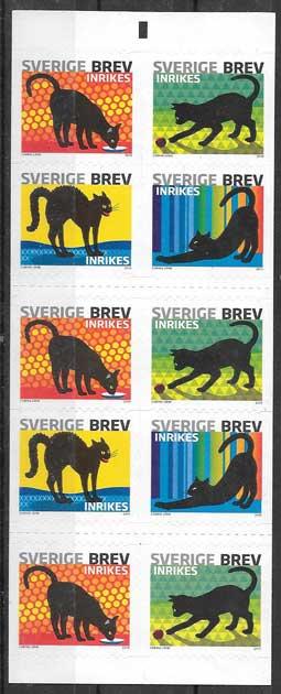 sellos gatos Suecia 2010