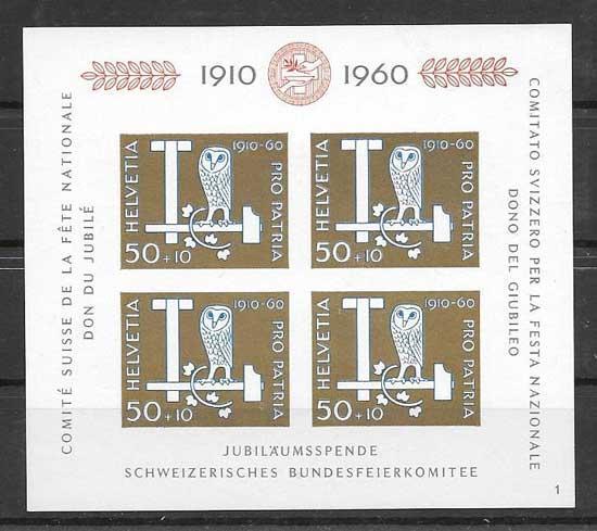 Filatelia sellos fauna de Suiza 1990