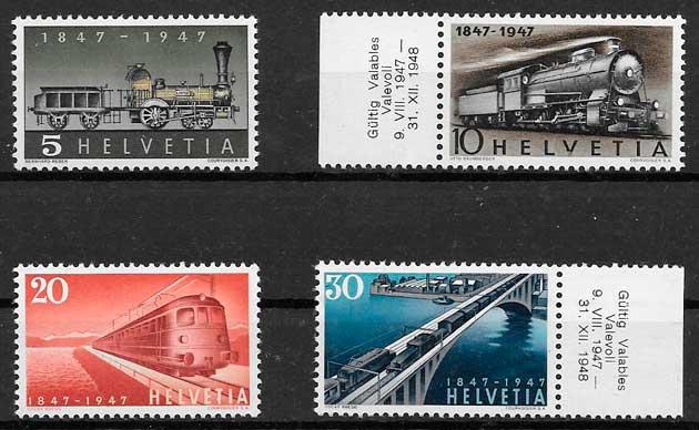 colección sellos trenes Suiza 1947
