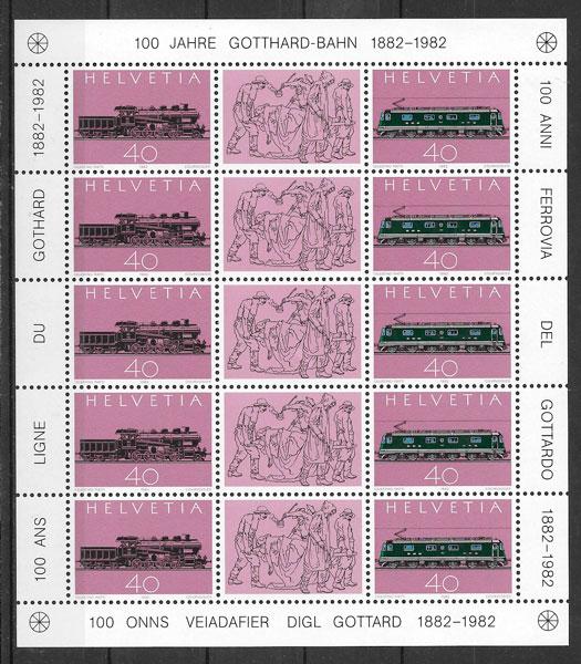 sellos trenes Suiza 1982