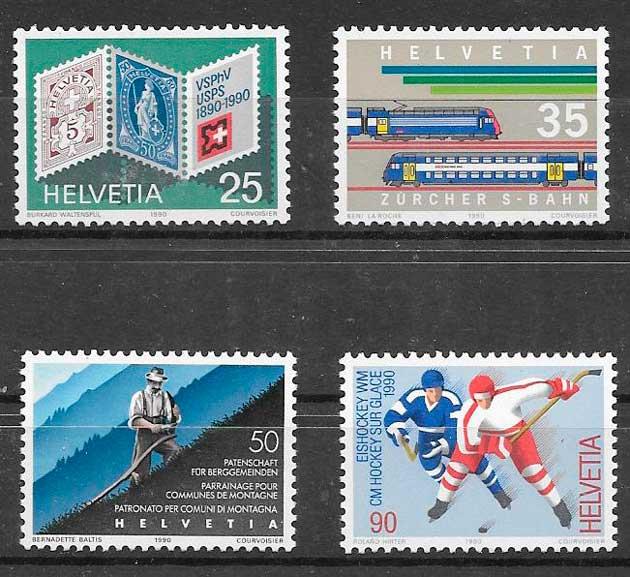 sellos trenes Suiza 1990
