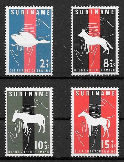 filatelia fauna Surinam 1962