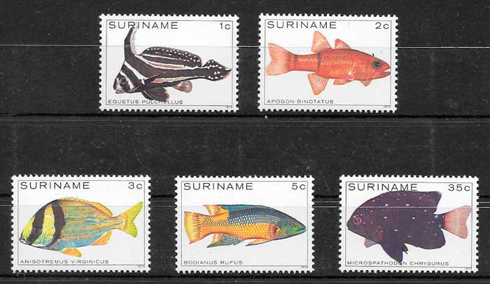 sellos fauna Surinam 1979