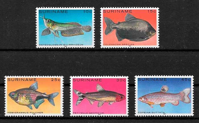 filatelia fauna Surinam 1980