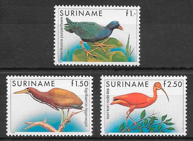sellos fauna Surinam 1985