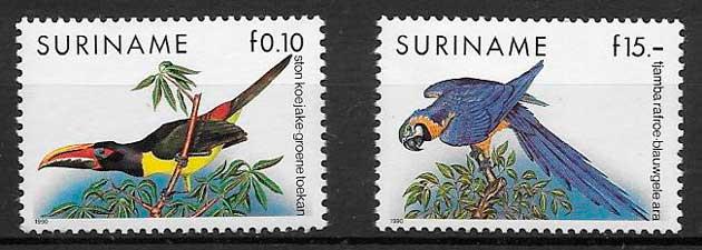 filatelia colección fauna Suriname 1990