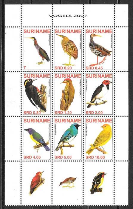 colección sellos fauna Suriname 2007
