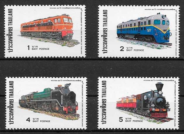 sellos colección trenes Tailandia 1977