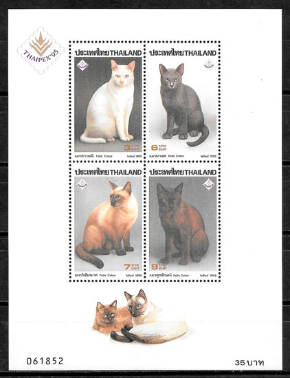filatelia gatos Tailandia 1995