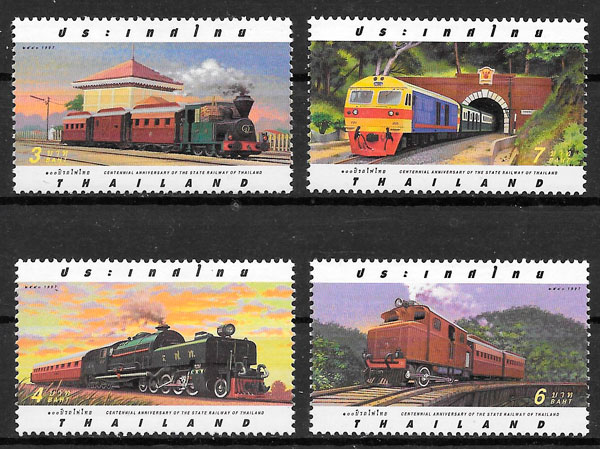 sellos trenes Tailandia 1997