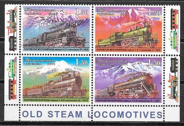 sellos colección trenes Tadjikistán 2011