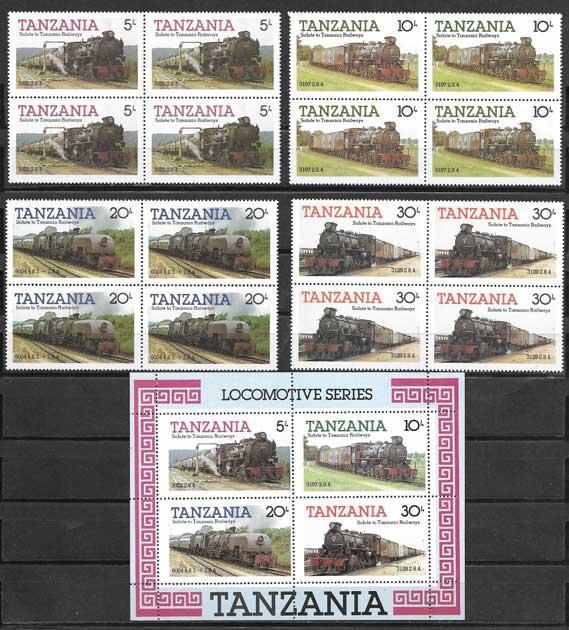 Filatelia sellos trenes y locomotoras de Tanzania